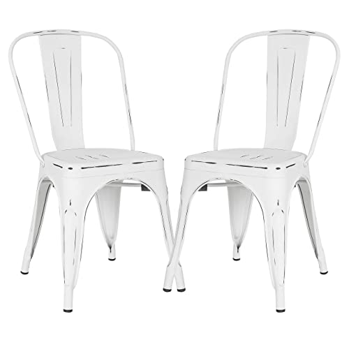 Poly and Bark Trattoria Kitchen and Dining Metal Side Chair in Distressed White Set of 2