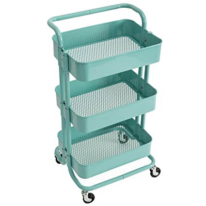 Charmant DOEWORKS Storage Cart 3 Tier Metal Utility Cart Organizer Cart With Wheels  Small Art Cart Turquoise