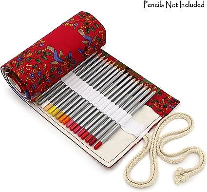 BTSKY Estuche Enrollable para Lápices con 72 Agujeros Cortina de Lápices de Tela de Gran Capacidad Organizador para Envolver Lápices de Colores, Color Rojo Estilo Árboles Rojos: Amazon.es: Oficina y papelería