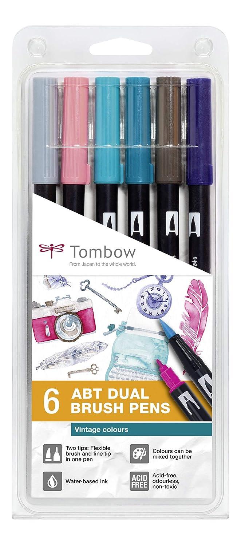 Tombow ABT de 6P de 5 Brush Pen fuden osuke Dos Puntas Vintage colours 6ST