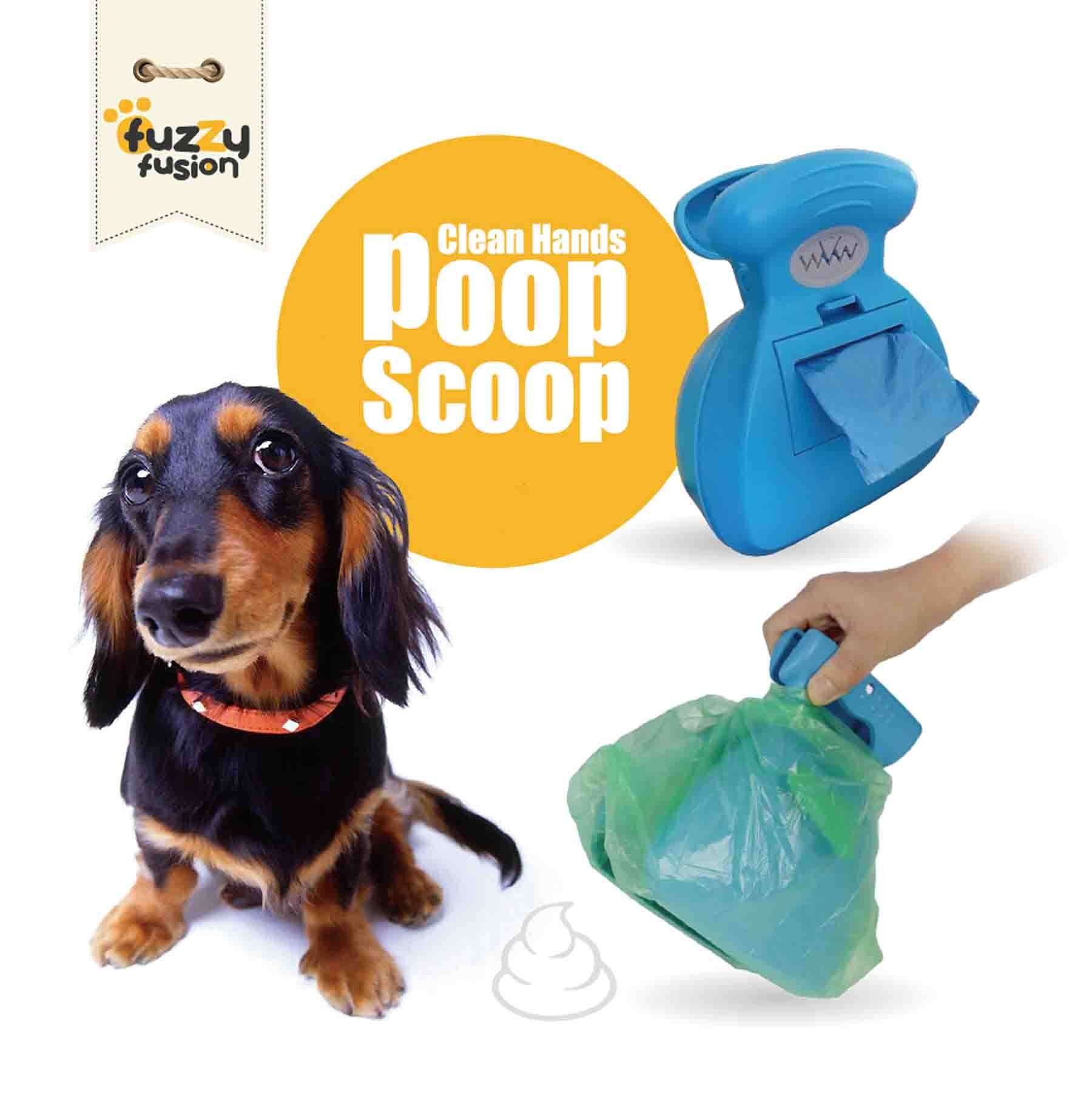 Clean Hands Poop Scoop with Built in Waste Bag Dispenser and Expandable Silicone Body for easy carrying and storage (Green)