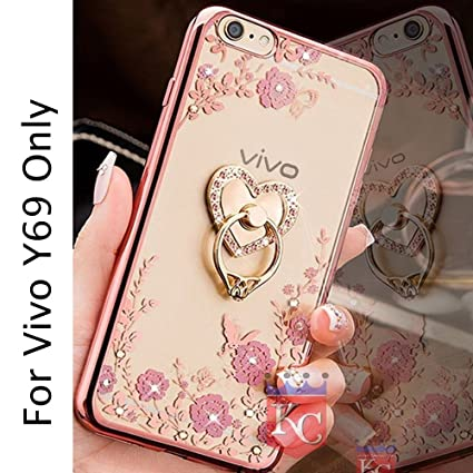 purchase cheap 9156b 7ef94 Kc Heart Ring Holder Stand Case Premium Clear Gel Soft TPU Transparent Back  Cover For Vivo Y69 - Rose Gold & Pink