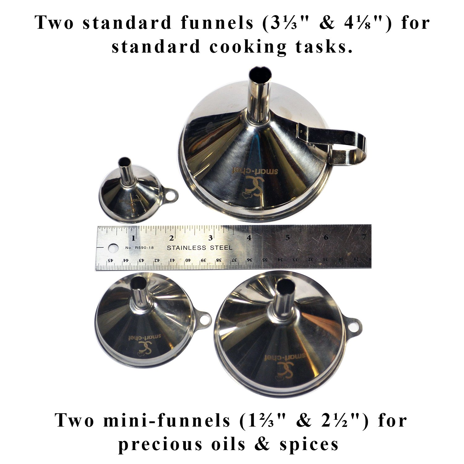 Essential Oils Set of 4 for Cooking Enhances Decor SCFL001 Thick Helps Avoid Spills Flask-Filling Strong #304 Grade Kitchen Tools Stainless Steel Funnels w//Strainer by Smart Chef