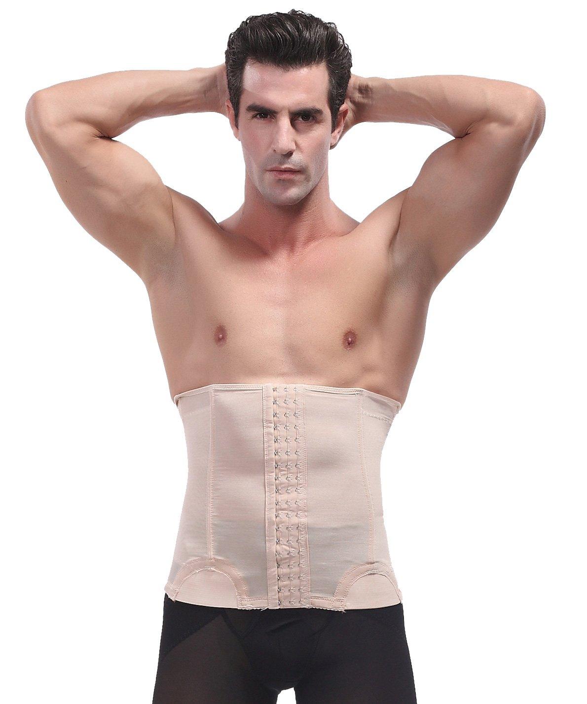 Panegy Memory Alloy Boning Waist Trimmer Girdle Compression Slimmer Belt Shapewear for Men Size XL White