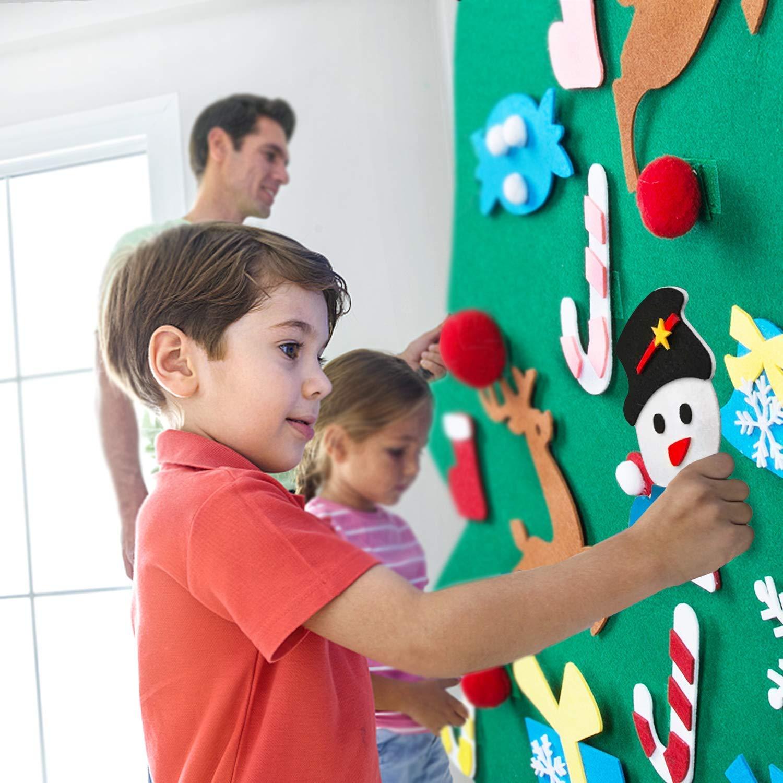 Type1 Queta Feutre Arbre de No/ël DIY Arbre De No/ël avec Ornements D/étachables Nouvel an Partie De No/ël D/écor pour Enfants