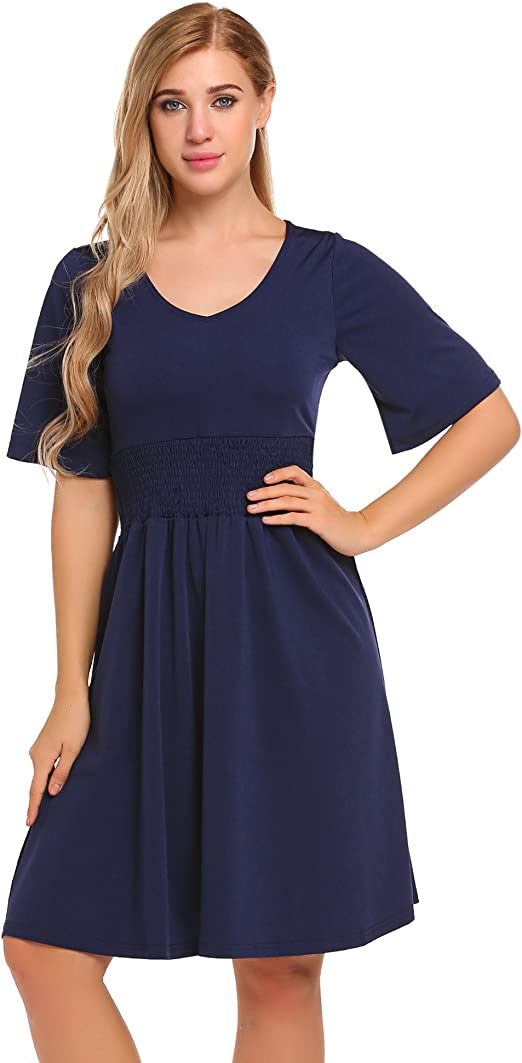 Po południu meaneor damskie jesienna sukienka z bardziej elastyczna talia i rueschenaermeln impreza sukienka wycięcie w kształcie V Empire sukienka wieczorowa sukienka Swing do kolan: Odzież