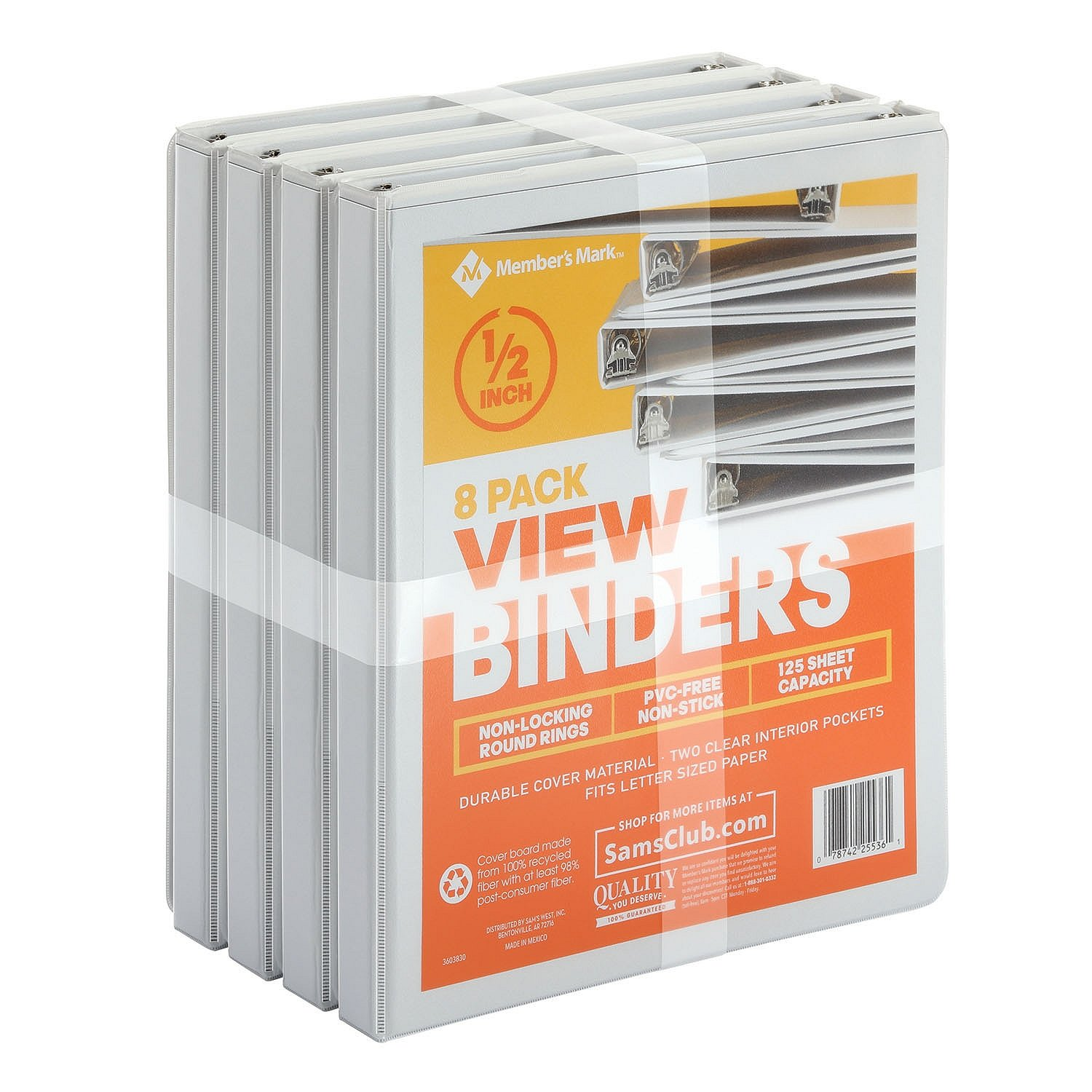 Member's Mark 1/2'' Round-Ring View Binder, White (8 pk.)