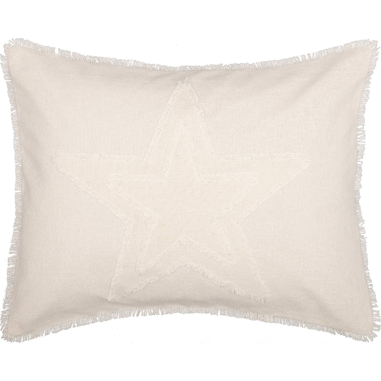 VHC Brands Farmhouse Bedding Vintage Appliqued Cotton Burlap Star Standard Sham, Antique White