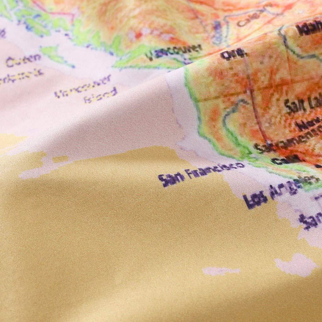 Sunskyi Hawaiian Style Casual Loose Map Print Lightweight Quick Dry Beach Shorts with Drawstring Mens Summer Swim Trunks
