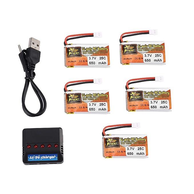 FairytaleMM 5pcs ZOP Poder 3.7V 650mAh 25C Lipo 1S batería con 5 ...