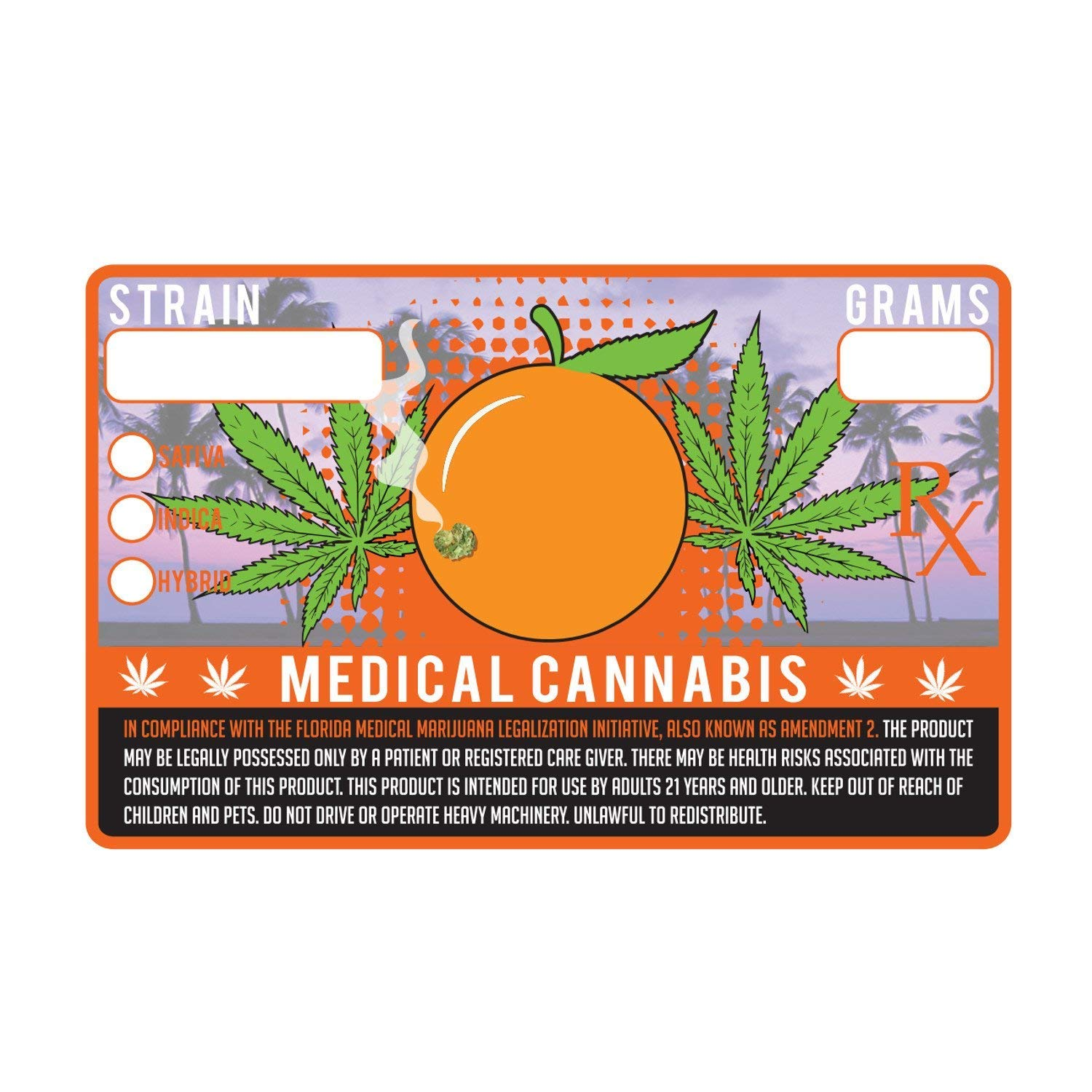 Florida FL State Medical Marijuana Strain Cannabis Compliance Sticker Pot Labels 1.25 x 2'' (100) by Shatter Labels (Image #1)