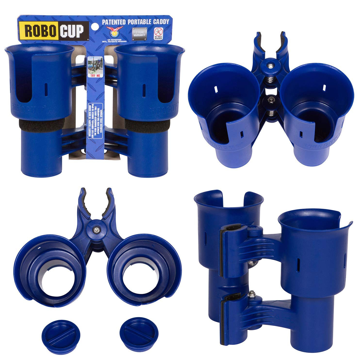 ROBOCUP, Navy, Upgraded Version, Best Cup Holder for Drinks, Fishing Rod/Pole, Boat, Beach Chair, Golf Cart, Wheelchair, Walker, Drum Sticks, Microphone Stand by ROBOCUP