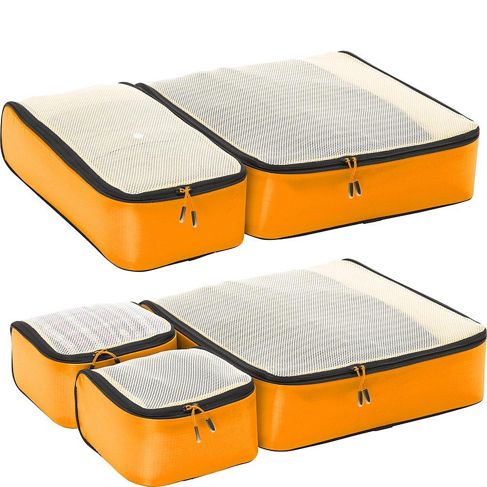 eBags Ultralight Travel Packing Cubes - Lightweight Organizers - Super Packer 5pc Set - (OrangeYellow)