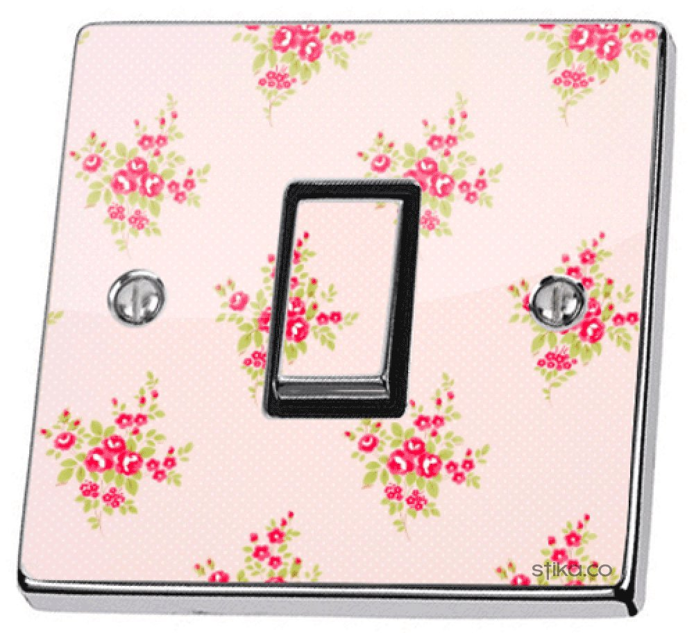 Pink Shabby Chic Roses Light Switch Sticker vinyl cover skin stika.co PINKSCLS-SGLS