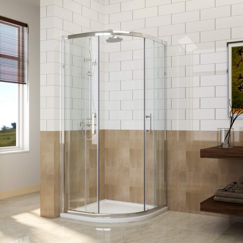 Cabina de ducha de 900 x 900 mm con cristal fácil de limpiar de 8 mm y puerta corredera con bandeja de piedra , 800x800x1850mm Easy Clean Glass, 800x800 Shower Enclosure only: