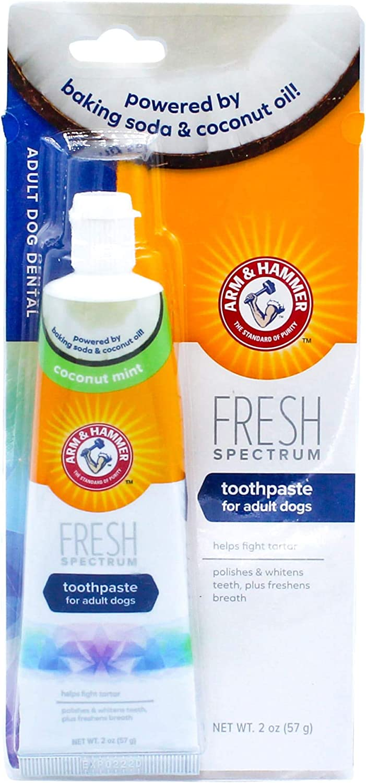 Arm & Hammer Fresh Spectrum Dog Toothpaste for Adult Dogs, 2 oz | Baking Soda Arm & Hammer Dog Toothpaste Coconut Mint to Fight Tartar, Polish & Whiten Teeth, & Freshen Breath