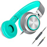 AILIHEN C8 Headphones with Microphone and Volume Control for iPhone,iPad,iPod,Android Smartphones,PC,Laptop,Mac,Tablet,Lightweight Foldable Headset for Music Gaming (Grey/Mint)