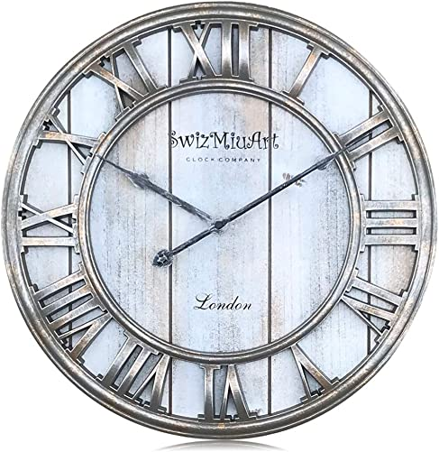 Silent Wall Clocks Battery Operated Non Ticking Quartz,Large Wooden Wall Clock Farmhouse Rustic,Big 3D Roman Numeral Metal Wall Clock Decor Retro Living Room,Home,Office,Bedroom,Kitchen 16 inch-Gray