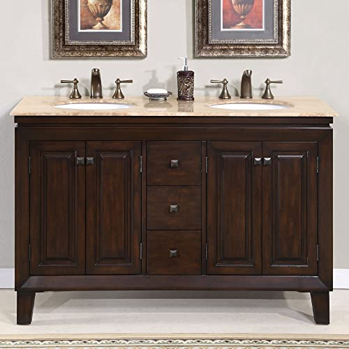 Silkroad Exclusive HYP-0208-T-UWC-55 Travertine Top Double Sink Bathroom Vanity Furniture Cabinet, 55 , Dark Wood