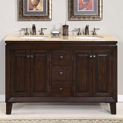 Delightful Silkroad Exclusive Travertine Top Double Sink Bathroom Vanity Furniture  Cabinet, 55 Inch