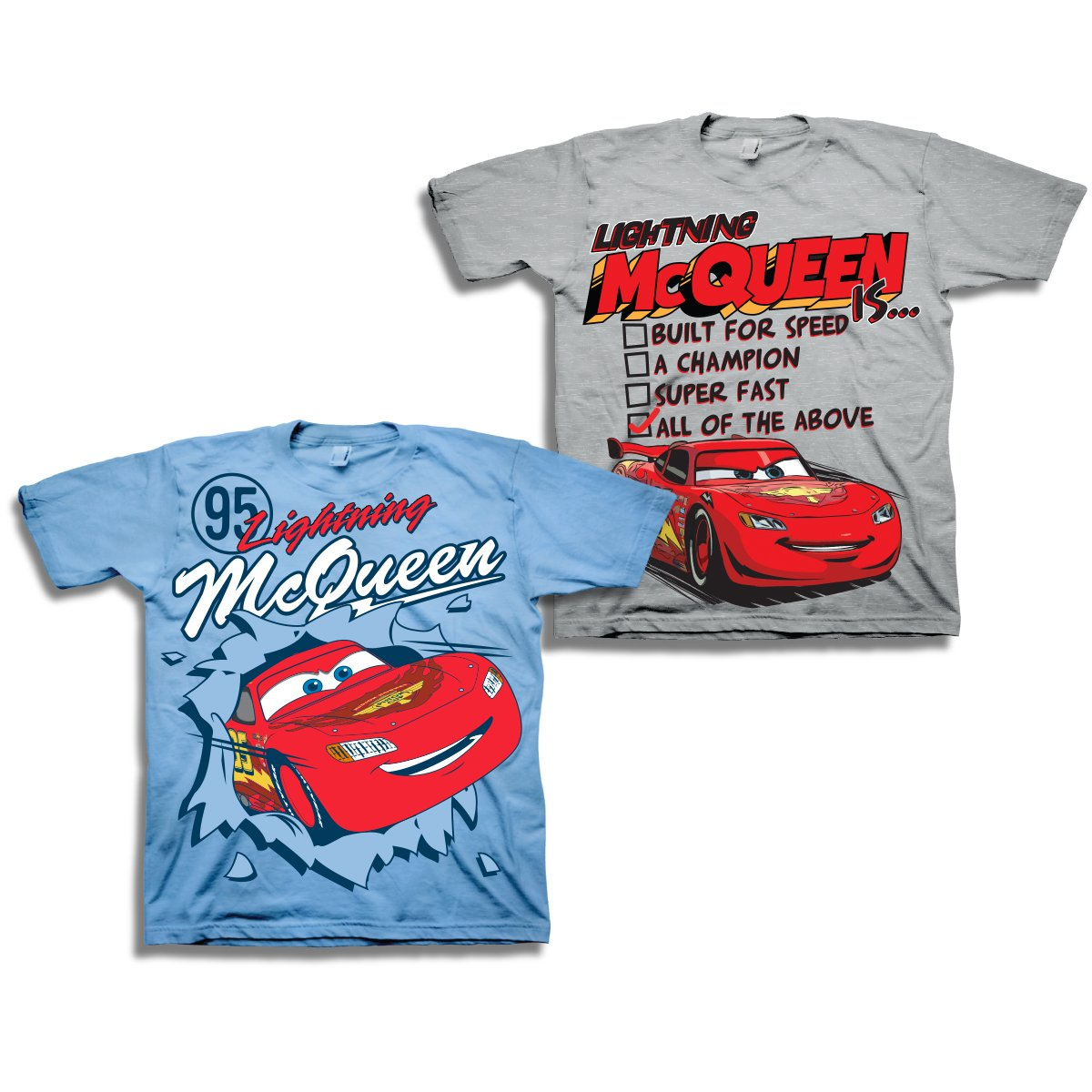 Disney Boys Cars Lightning McQueen Shirt - 2 Pack of Lightning McQueen Tees (Grey/Light Blue, 3T)