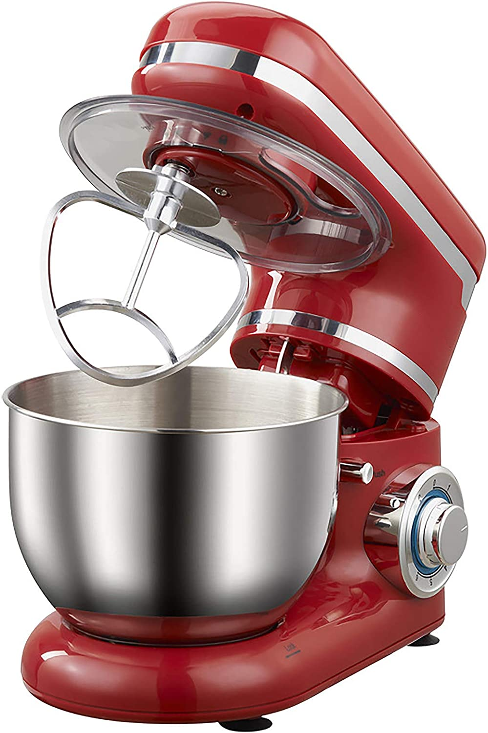 QWEASDF Tilt-Head Stand Mixer, Food Processor, Dough Hook, Flat Beater, Wire Whip 1200W Stainless Steel Bowl Planetary Mixing Action 6 Speeds Multifunctional