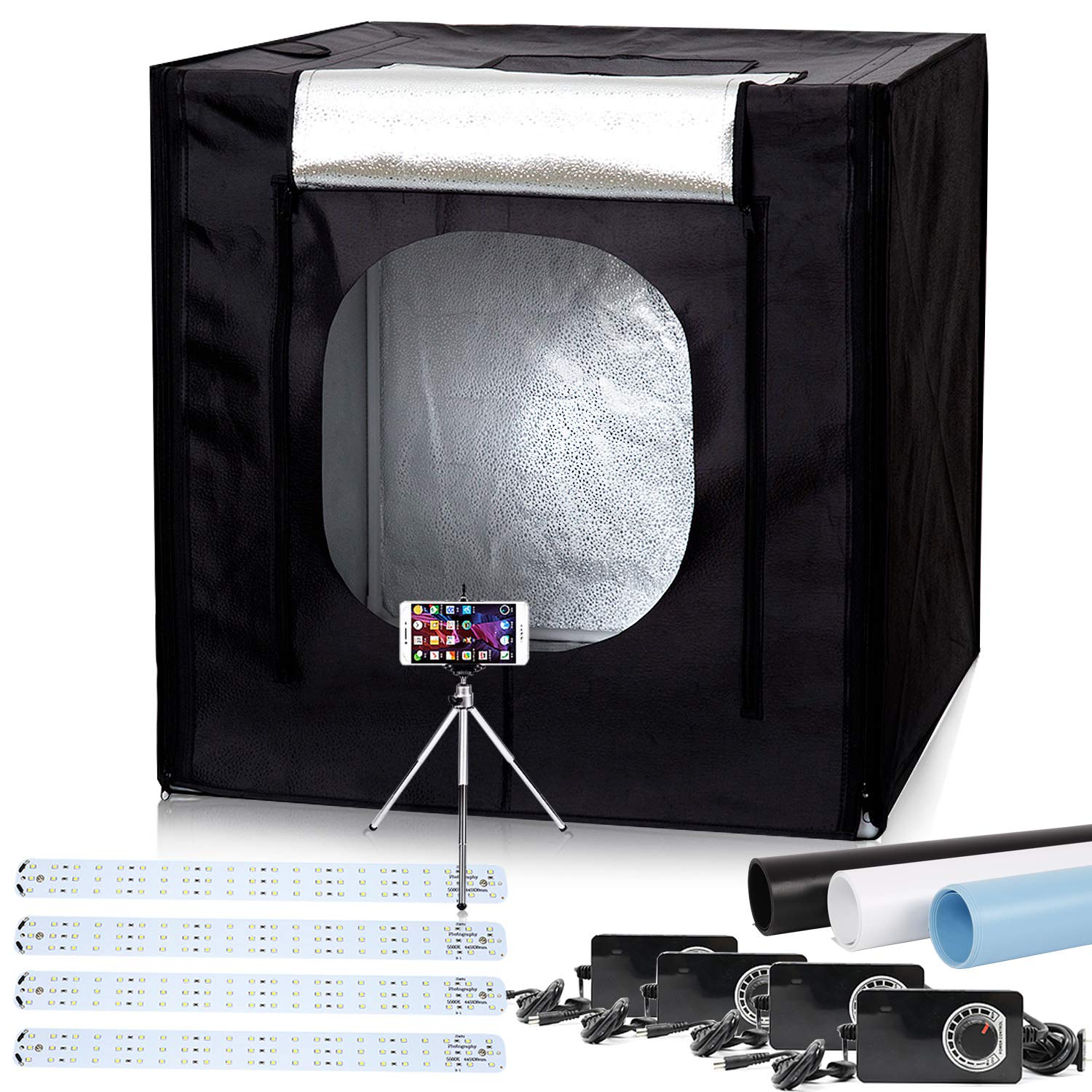 40''x40''x40'' LED Large Photography Shooting Tents 384pcs 5500K Lights Cube Box Tents Kit for Photo Studio Lighting with Dimmer Adapter,Mini Tripod and 3 Colors PVC Backgrounds in Carrying Bag by Konseen (Image #1)