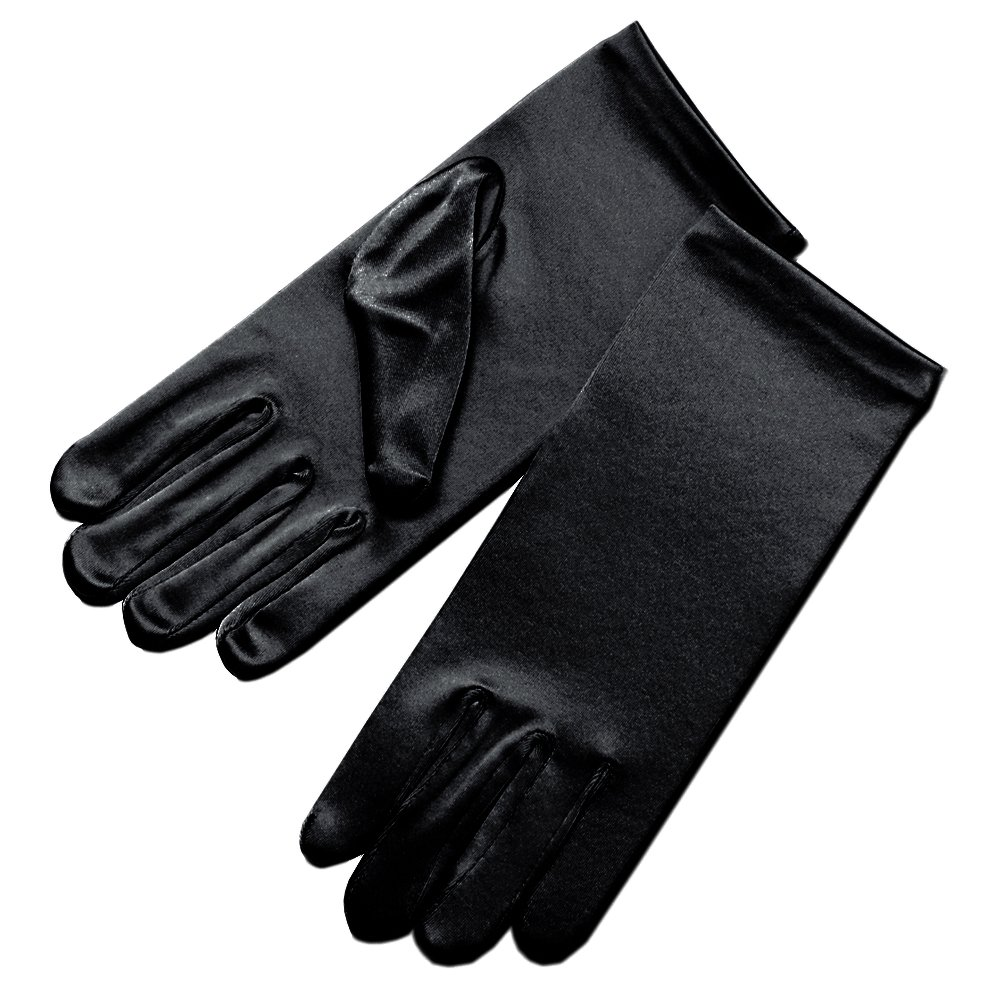 ZaZa Bridal Girl's Fancy Stretch Satin Dress Gloves Wrist Length 2BL-Girl's Size Large (13-16 yrs)/Black