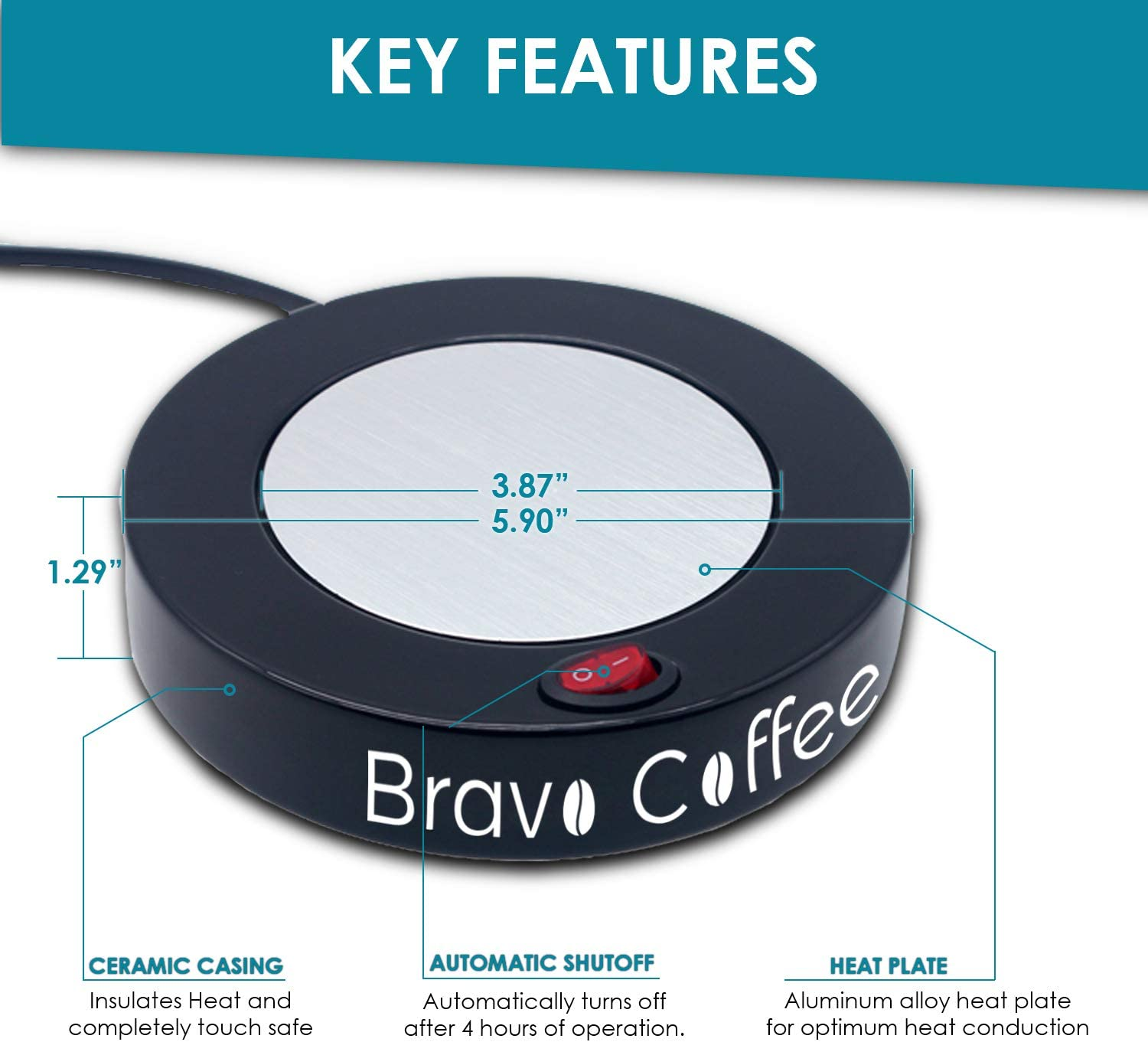 Bravo Line Coffee Mug Warmer with Automatic Shutoff Best Electric Beverage Warmer for Desk Extra Large 3.87 with 2 FREE Drink Covers Perfect Drink Warmer for All Cups and Mugs