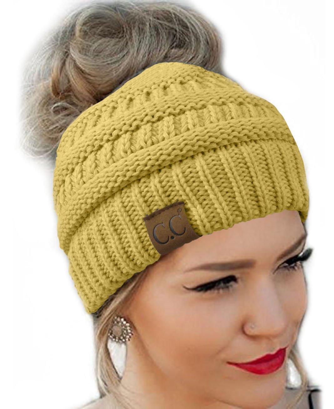 Messy Bun Hat Beanie CC Quality Knit (Camel)