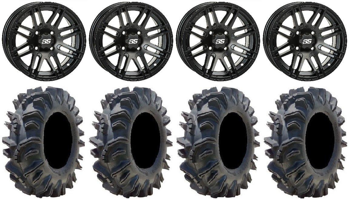 Bundle - 9 Items: ITP SS316 14'' Wheels Black Ops 28'' Terminator Tires [4x110 Bolt Pattern 10mmx1.25 Lug Kit]
