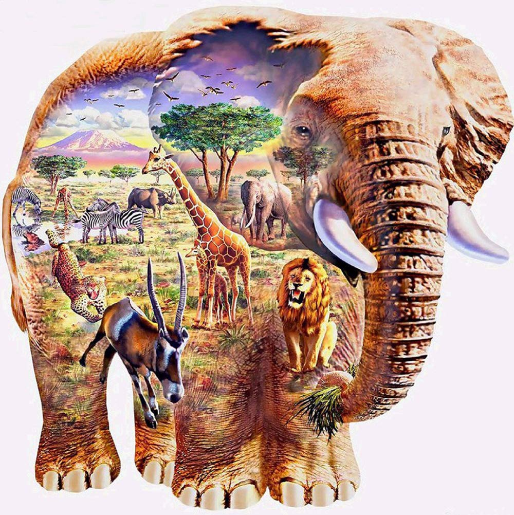 DIY 5D Diamond Painting Number Kits Round Drill Rhinestone Embroidery Cross Stitch Pictures Arts Craft Home Wall Decor 12x12In Elephant Animal World MXJSUA