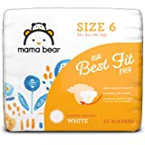 Amazon Brand - Mama Bear Best Fit Diapers Size 6, 25 Count, White Print [Packaging May Vary]