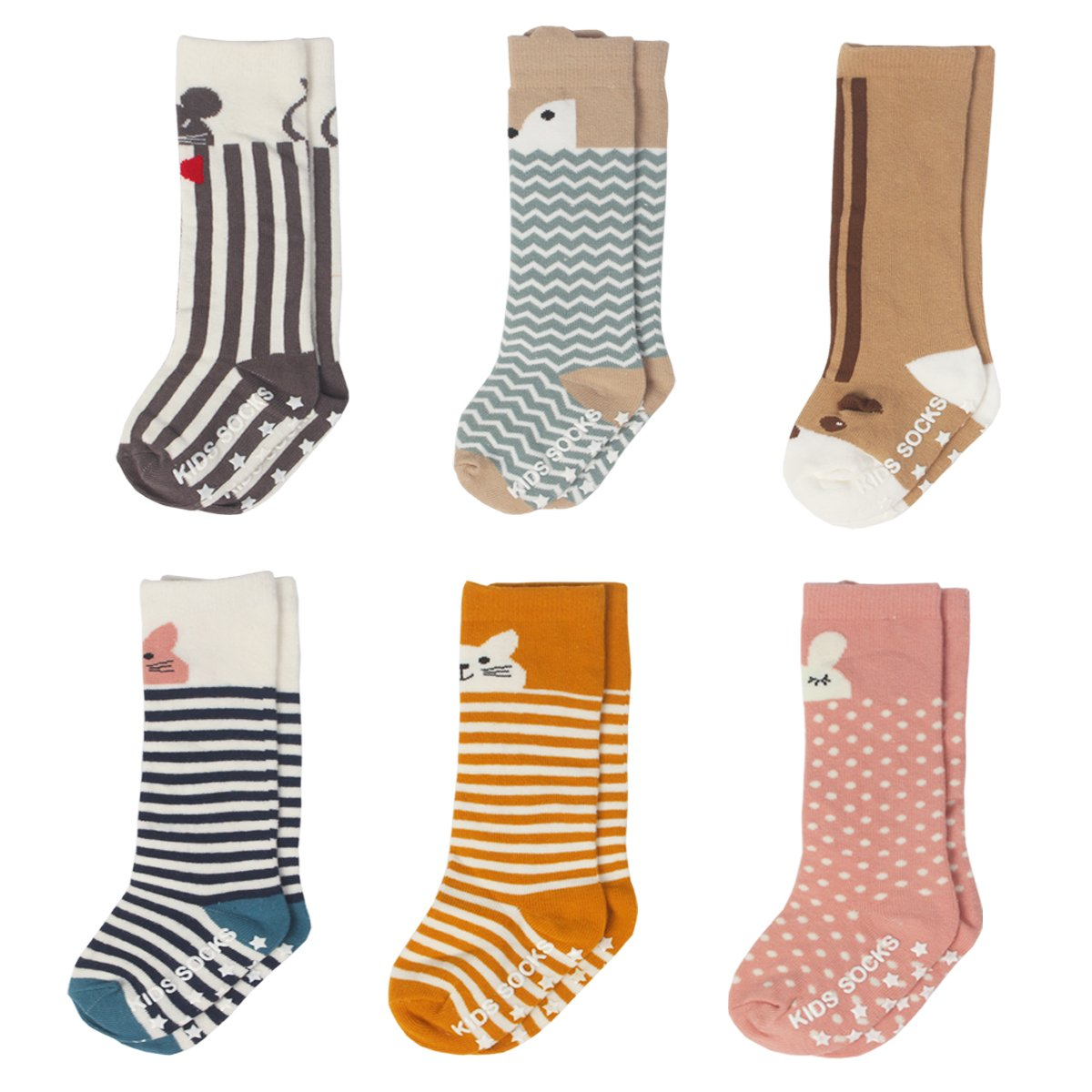 IMISNO Toddler Socks Non Skid Cotton Stockings Animal Theme Knee High Socks For Unisex-Baby Boys&Girls Leg warmmers 6-Pairs (S (0-2years))