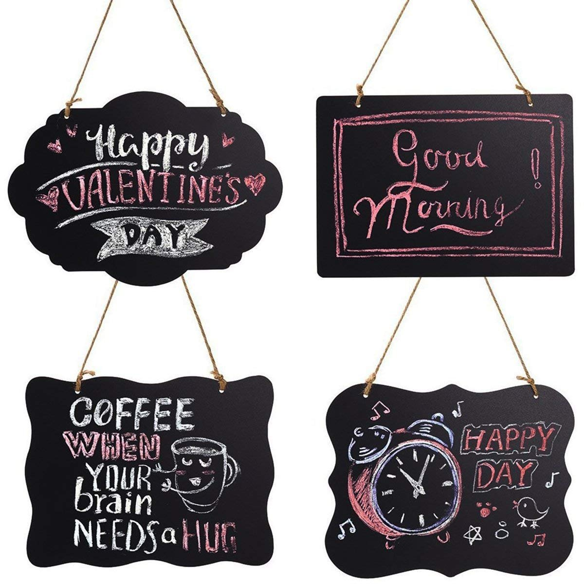 HOMEMAXS Chalkboard Sign Double-Sided Message Board with Hanging String - 2 Pack (4Pack)