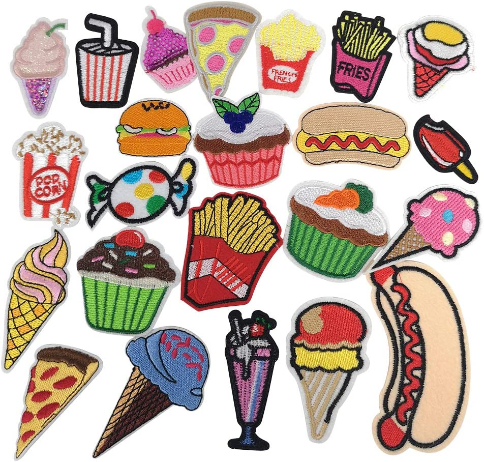 Libiline Random 24PCS Mix Fries Bread Sandwish Cake Drink Sew-on Iron-on Patch Dress Embroidered Appliques Patches (Cake Bread Fries)