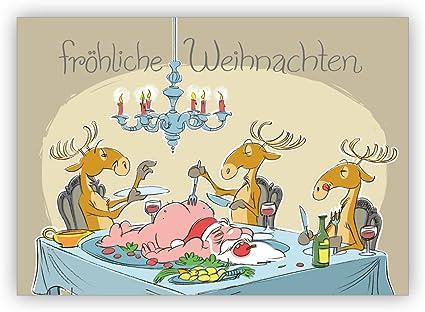 Comique Humour Carte De Noel Avec Rennes Du Pere Noel Repas De Noel Joyeux Noel 16 Weihnachtskarten Amazon Fr Fournitures De Bureau