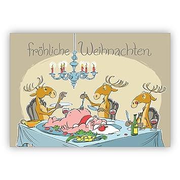 Carte De Noel Droles.Comique Humour Carte De Noël Avec Rennes Du Père Noël Repas
