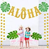 TMCCE Hawaiian Aloha Party Decorations Large Gold Glittery Aloha Banner for Luau Party Supplies Favors