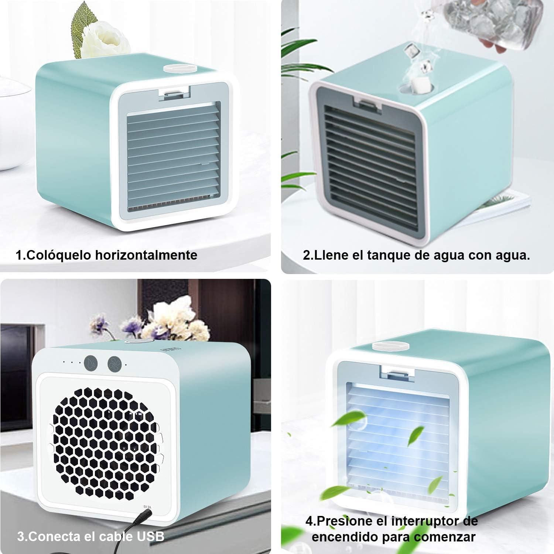 LEDLUX ESE017 Mini Aire Acondicionado Ventiladores Port/átil Climatizador Humidificador de Agua con USB Air Cooler