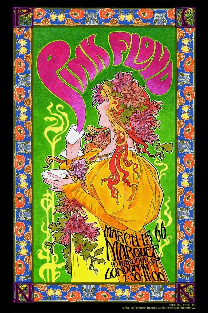 Pyramid America Pink Floyd Marquee 66 Bob Masse Music Concert Retro Vintage Style Psychedelic Trippy Cool Wall Decor Art Print Poster 24x36