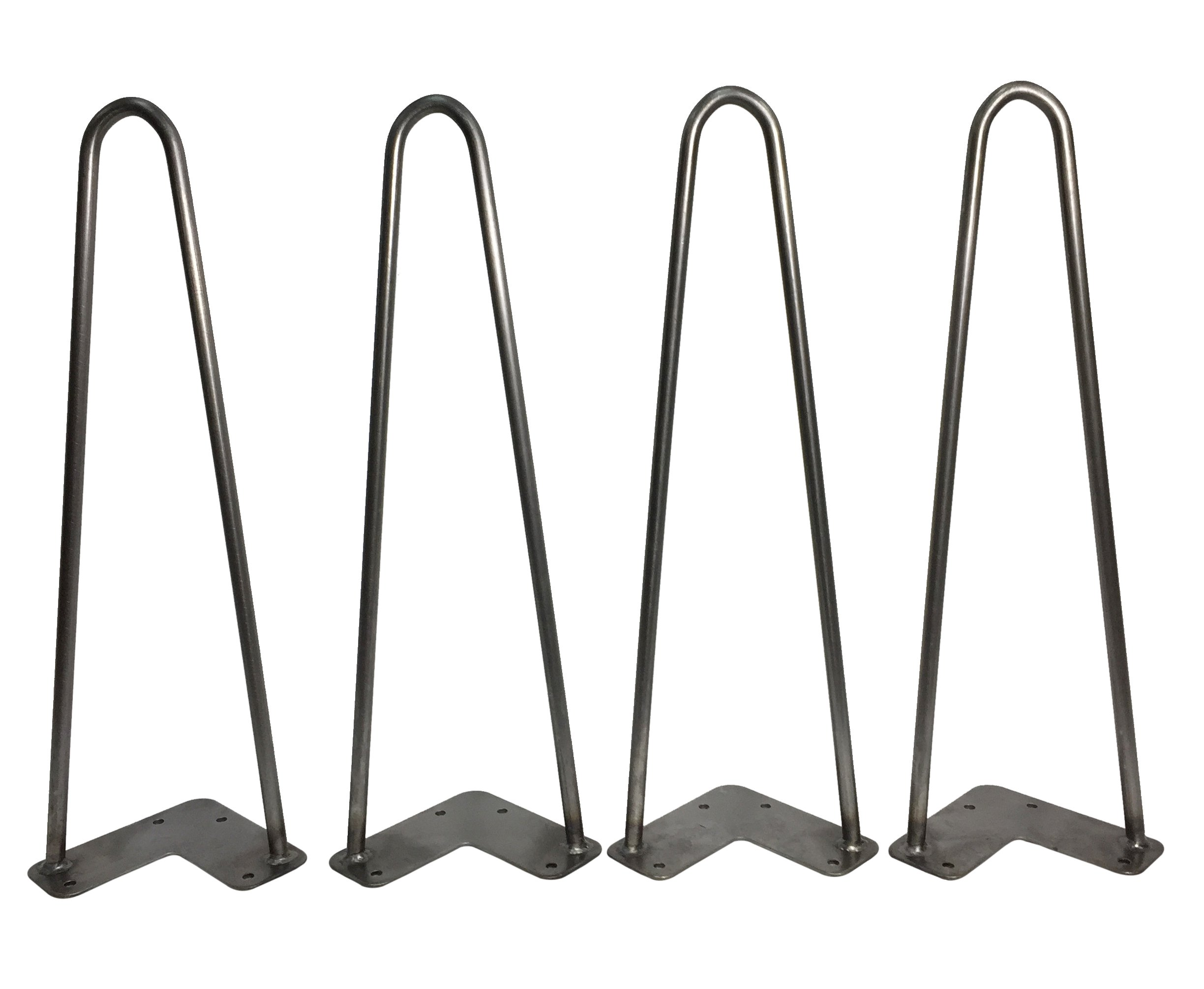 Hairpin Table Legs (Set of 4), Heavy Duty Raw Steel Rods for Industrial Design Look (16 Inch)