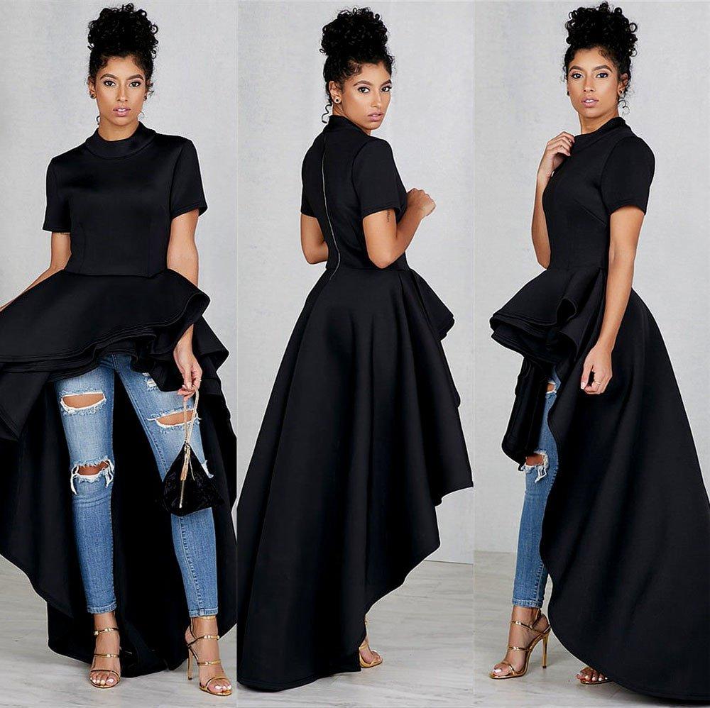 Women's Short Sleeve High Low Peplum Dress Womens High Collar Dress Vintage Lace Swing Dress(Black,L) by Kalinyer (Image #2)