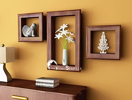 Home Sparkle Sh515 Wooden Wall Shelves with Frames (Set of 3, Brown ...