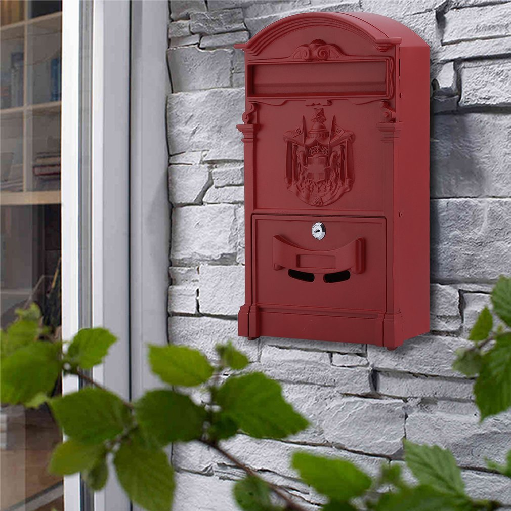 Belovedkai Outdoor Mailbox, Wall Mounted Vintage Mail Box Locking Post Box Secure Letterbox for Home Garden (red) by Belovedkai (Image #3)