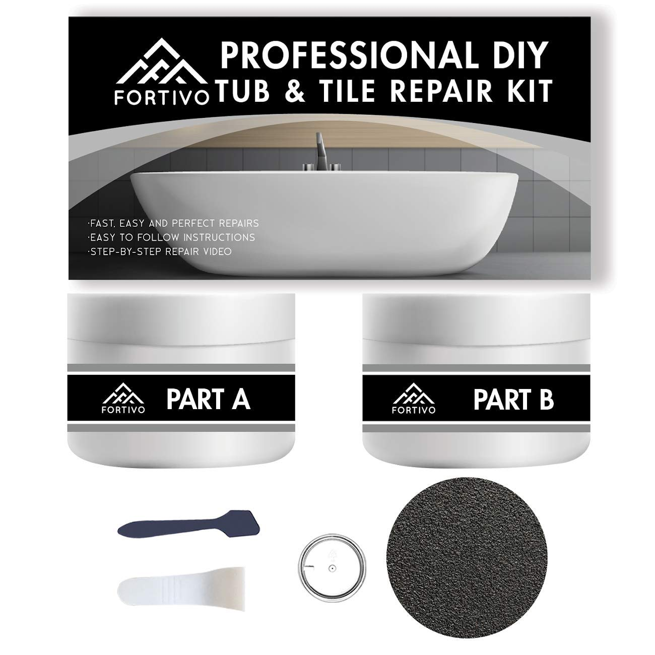 Tub Repair Kit White for Acrylic, Porcelain, Enamel & Fiberglass Tub Repair Kit for Sink, Shower & Countertop - Bathtub Refinishing Kit for Cracked Bathtub Scratches - Shower Bases & Pans