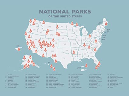 "Kindred Sol Collective USA National Park Map (24"" x 17"") - Interactive  Educational National Park Poster Reveals Images of All 60 US National Parks  - ..."
