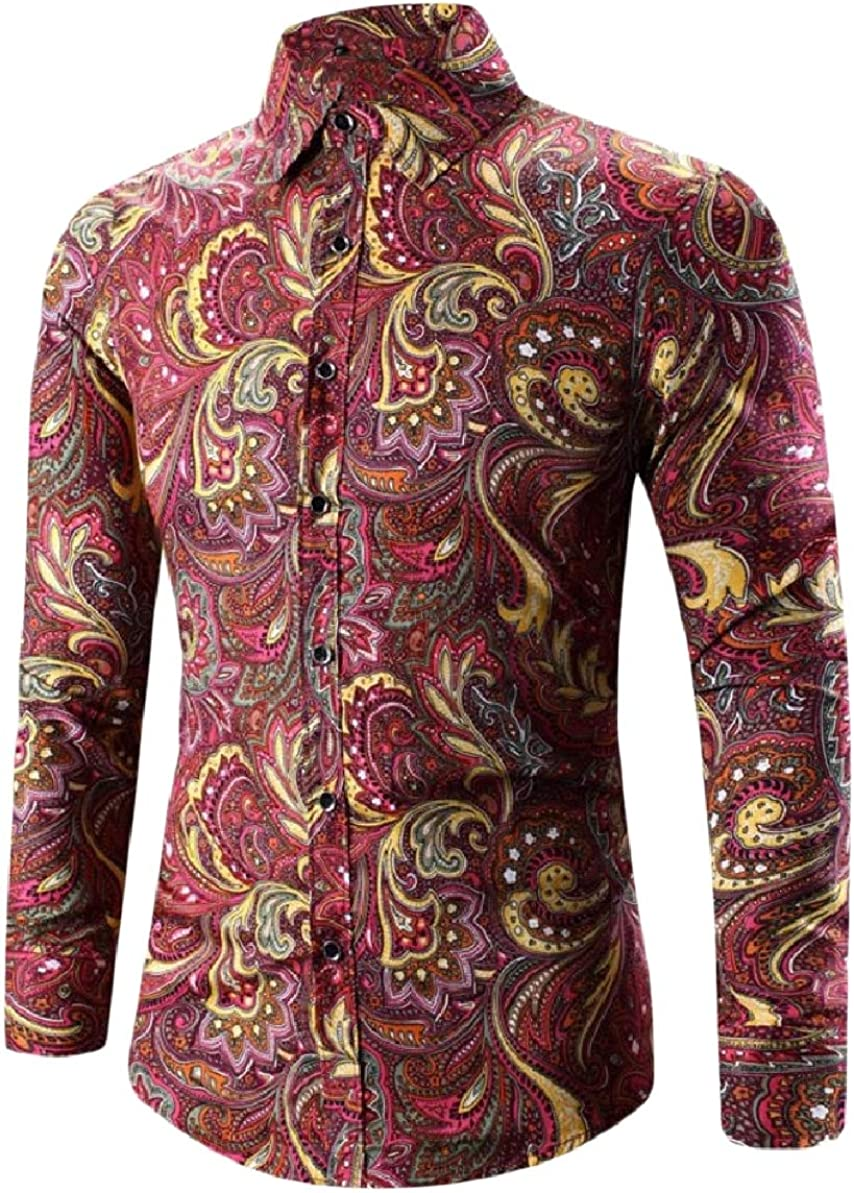 Zimaes-Men Buttoned Comfort Plus-Size Printed Long Sleeve Shirt Blouse Tops