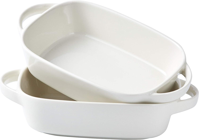 "Bruntmor Ceramic 8.5""x6"" Baking Dish for Roasting And Lasagna Pan, Oven safe, Set Of 2 Casserole Bakeware with Handle Rectangular Dish, 34 Oz. White"