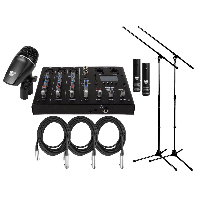Sabian SSKIT 4 Piece Drum Mic & Mixer Kit w/ 2 Mic Boom Stands and 3 XLR Mic Cables